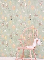 Wallpaper Golden woods Hand printed look Matt Trees Deer Butterflies Birds Pale green Beige red Pale brown Pale yellow Cream Olive green
