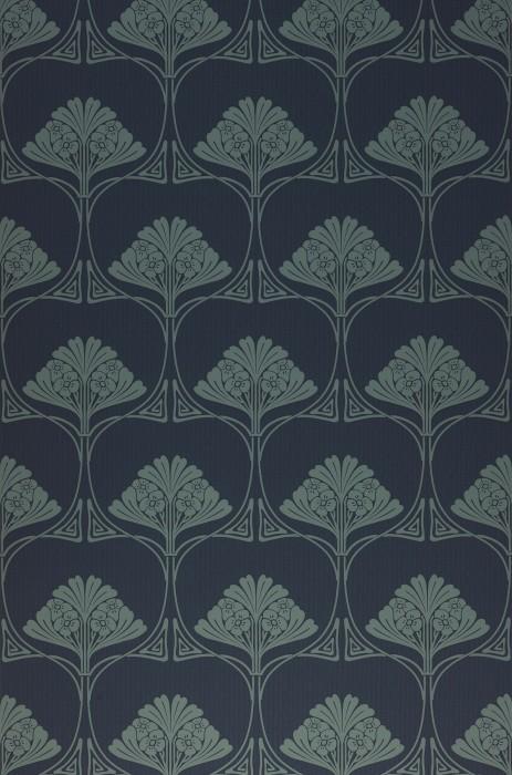 Papier peint Harmony Mat Damassé art nouveau Bleu noir Vert gris  Vert pastel