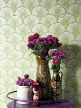 Wallpaper Nippon Hand printed look Matt Fan pattern Stylised leaves White aluminium Yellow green
