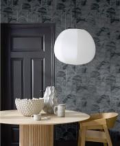 Papel pintado Zania Patrón brillante Superficie base mate Art Deco Curvas Gris oscuro Gris Aluminio blanco