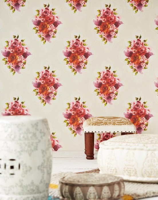 Wallpaper Malona Matt Flower bouquets Floral damask Light ivory Cream Cream shimmer Green Lavender Red
