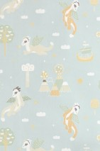 Wallpaper Magical adventure Hand printed look Matt Dragons Ships Stars Volcanoes Clouds Pale mint-turquoise Pale green Brown beige Cream Light ivory Honey yellow