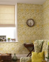 Wallpaper Rhea Matt Flower tendrils Cream Ivory Ochre yellow Olive green White