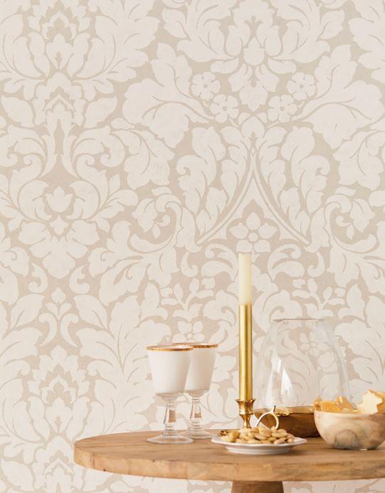 Papel pintado barroco Papel pintado Lumina blanco crema Ver habitación