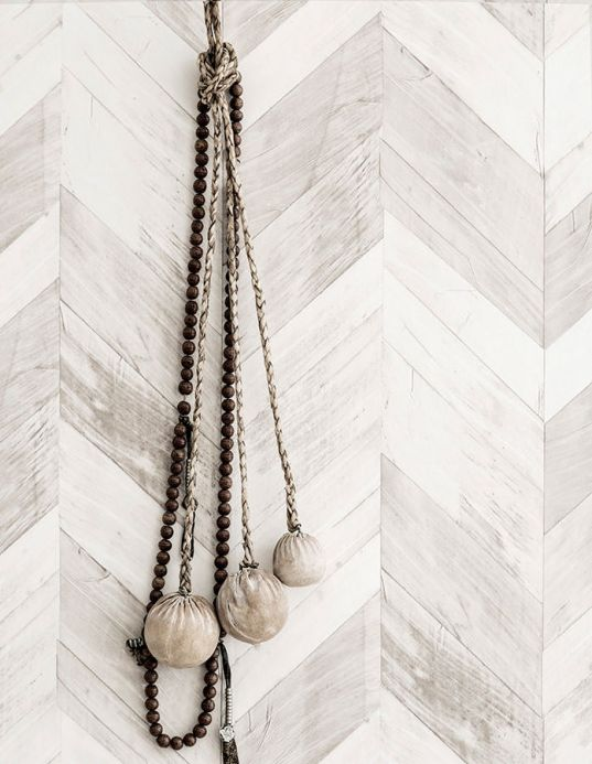 Industrial Style Wallpaper Wallpaper Wood Herringbone beige grey Room View
