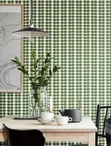 Wallpaper Leonarda Hand printed look Matt Stylised leaves White Green Black grey