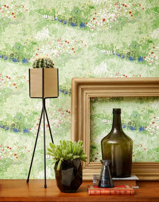Wallpaper VanGogh Garden Matt Trees Flower meadow Pale green Pea green Sapphire blue Wine red