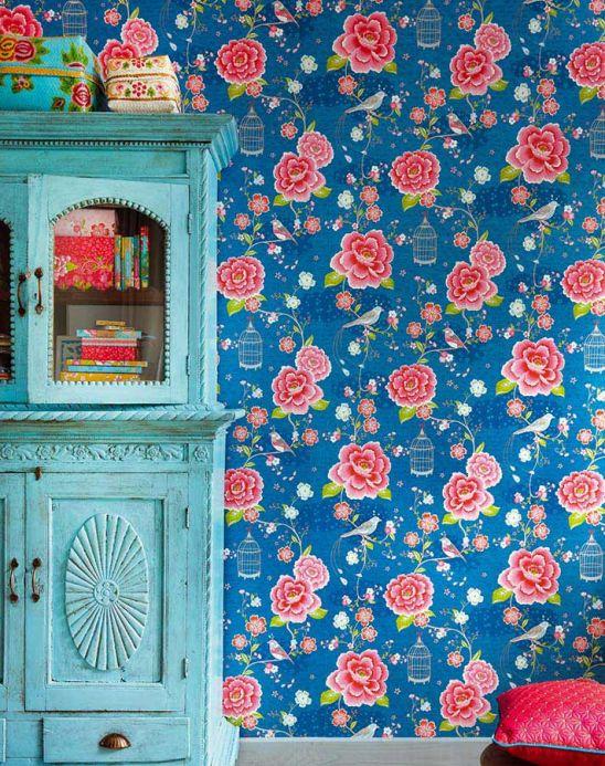Archiv Wallpaper Amina blue Room View