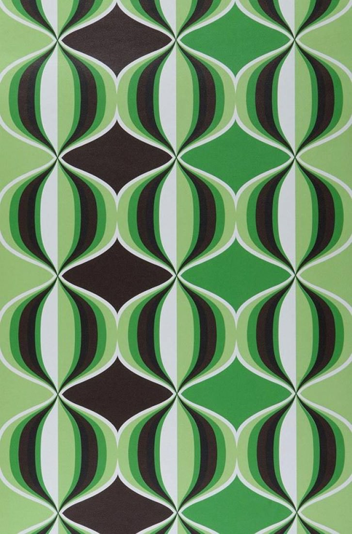 Wallpaper delos dark brown yellow green green black white wallpaper f - Papier peint vintage 70 ...