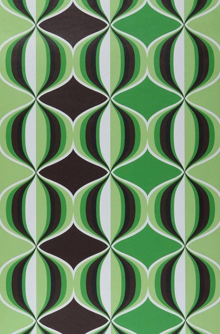 Delos brun fonc vert jaune vert noir blanc brun fonc vert jaune ver - Papier peint des annees 70 ...
