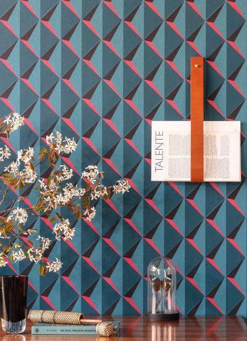 Carta da parati geometrica Carta da parati Jarid blu acqua Visuale camera