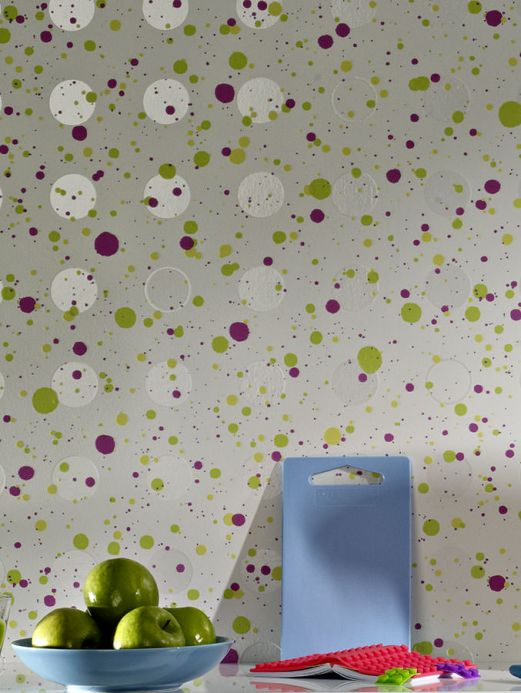 Archiv Wallpaper Dots light yellow green Room View