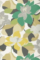 Wallpaper Adarna Matt Leaves Flowers Blossoms White Anthracite Fern green Grey Green yellow Olive yellow Turquoise green