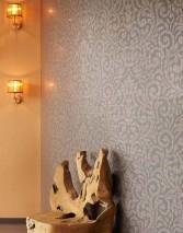 Papel pintado Lynda Patrón brillante Superficie base mate Damasco moderno Marrón grisáceo Oro
