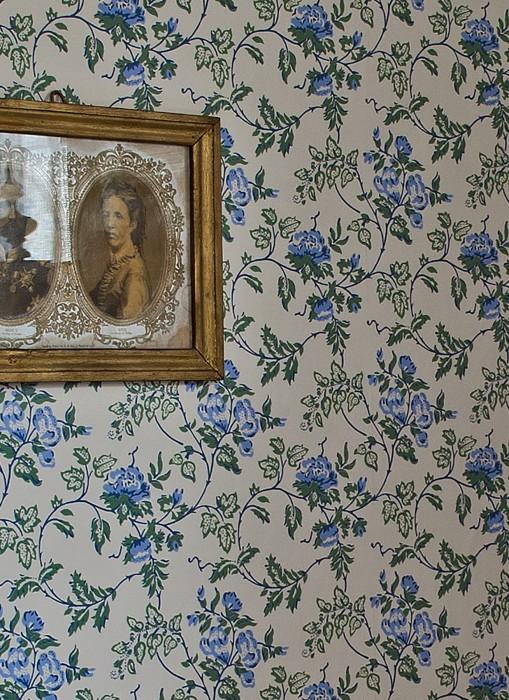 Papier peint Marie Aspect impression à la main Mat Vrilles de fleur Blanc crème Gris bleu Bleu clair Vert pastel