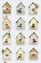 Wallpaper Birdhouse Matt Birdhouses Grey white Grey brown Green Light blue Rose