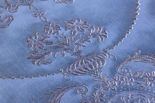 Carta da parati Rabia Brillante Damasco barocco Blu metallo Grigio bluastro