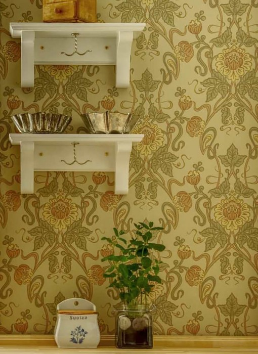 Wallpaper Clothilde Hand printed look Matt Leaf tendrils Flower tendrils Green beige Beige red Pale brown Light yellow Olive green Pastel orange