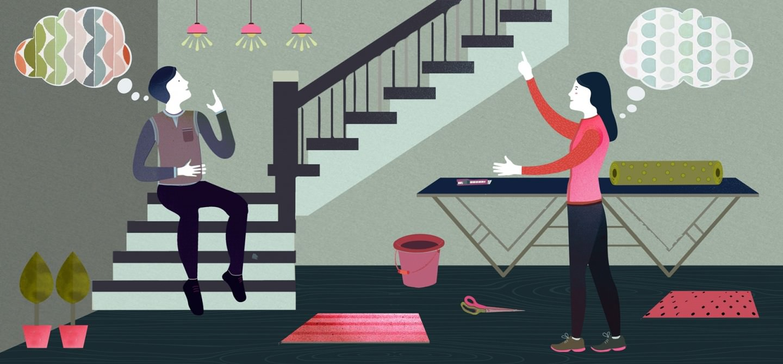 Una carta da parati sulle scalinate rende piacevole salire le scale!