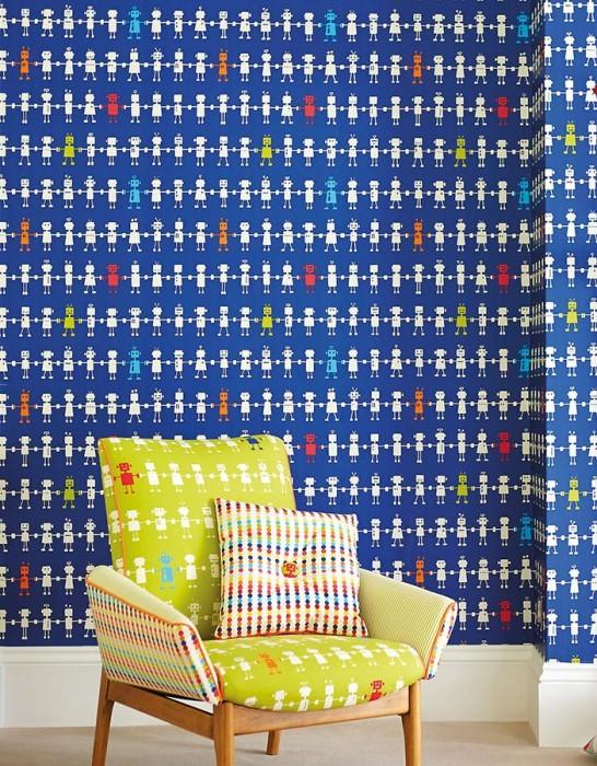 Wallpaper Mulisikel Matt Robots Dark blue Light blue Light green Orange Red