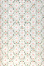 Wallpaper Efigenia Matt Baroque elements Blossoms Hearts Stars Cream Beige red Grey olive Pastel green Pastel rose White