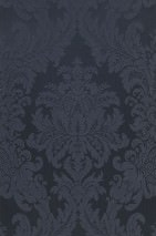 Wallpaper Odilia Matt pattern Shimmering base surface Baroque damask Black Grey