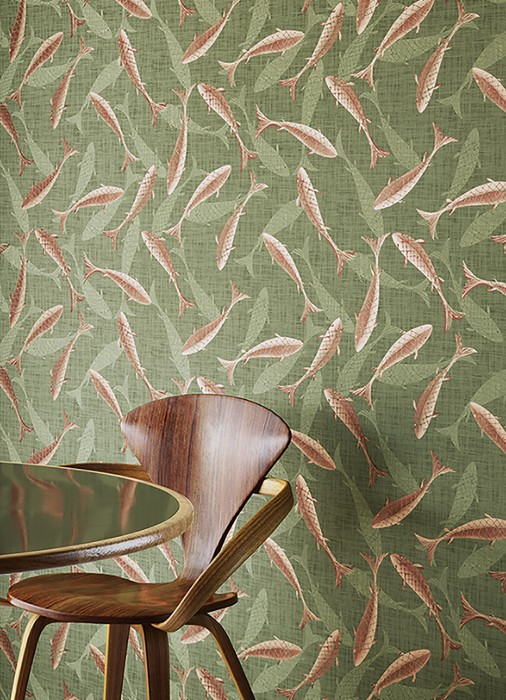 Wallpaper Immola Matt Fishes Reed green Beige red Chestnut brown Pearl beige