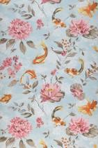 Wallpaper Liotta Matt Leaves Blossoms Fishes Light pastel turquoise Antique pink Beige grey Grey beige Orange Pastel yellow shimmer