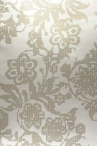 Wallpaper Siduri Shiny pattern Shimmering base surface Stylised flowers Pearl beige Brown beige Gold lustre