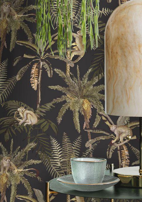 Papel pintado botánico Papel pintado Greenery negro Ver habitación