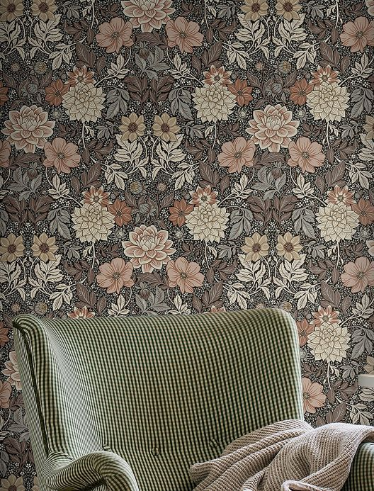 Floral Wallpaper Wallpaper Kerala black grey Room View