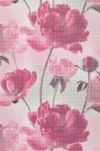 Papel pintado Aurelie Mate Flores Blanco grisáceo Rosa claro Violeta burdeos pálido Gris claro