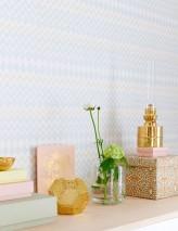 Wallpaper Tomoko Hand printed look Matt Zigzag Cream Light yellow Light grey