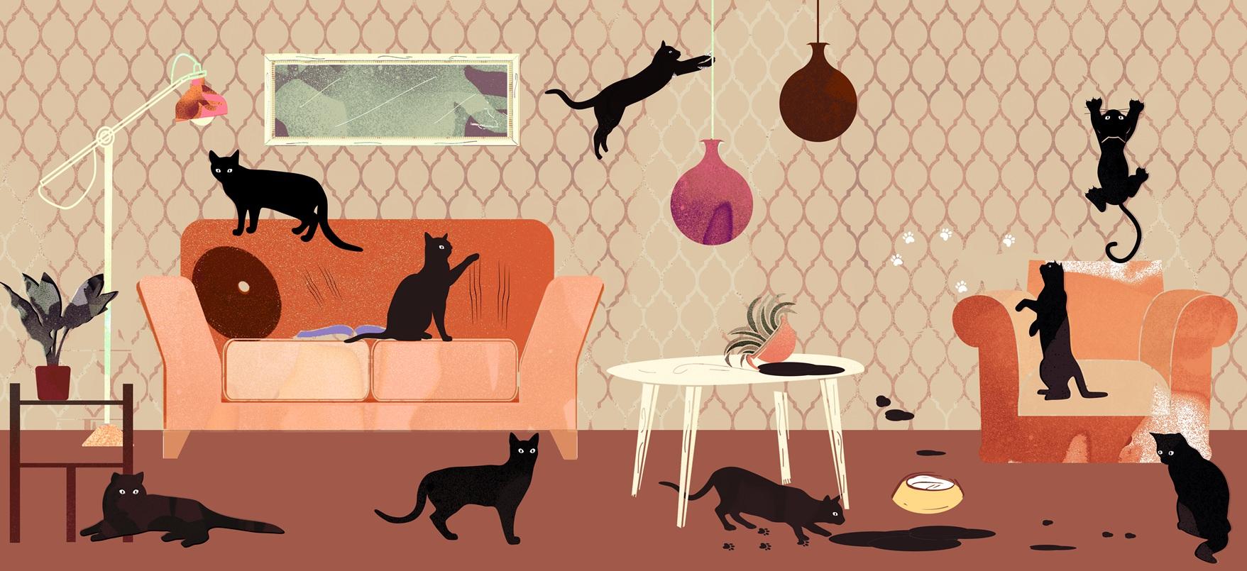 Gatti-che-graffiano-il-muro
