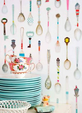 Papel pintado Teaspoons multicolor Ver habitación