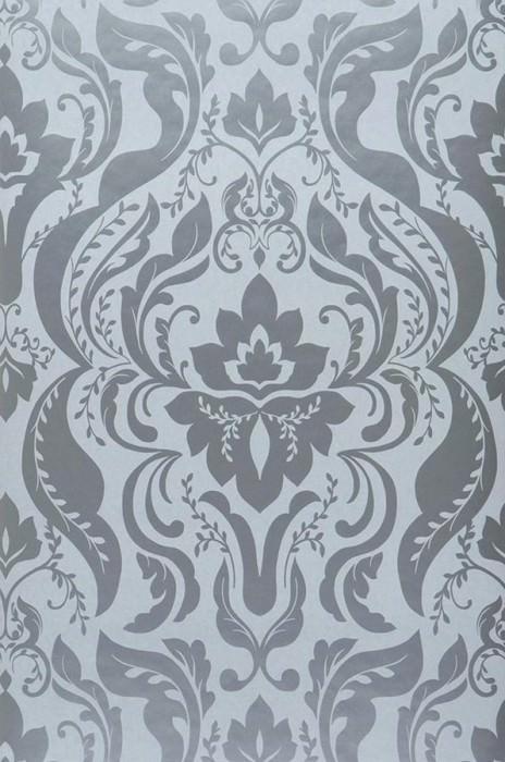 Wallpaper Sennin Shiny pattern Matt base surface Baroque damask Light grey Silver lustre