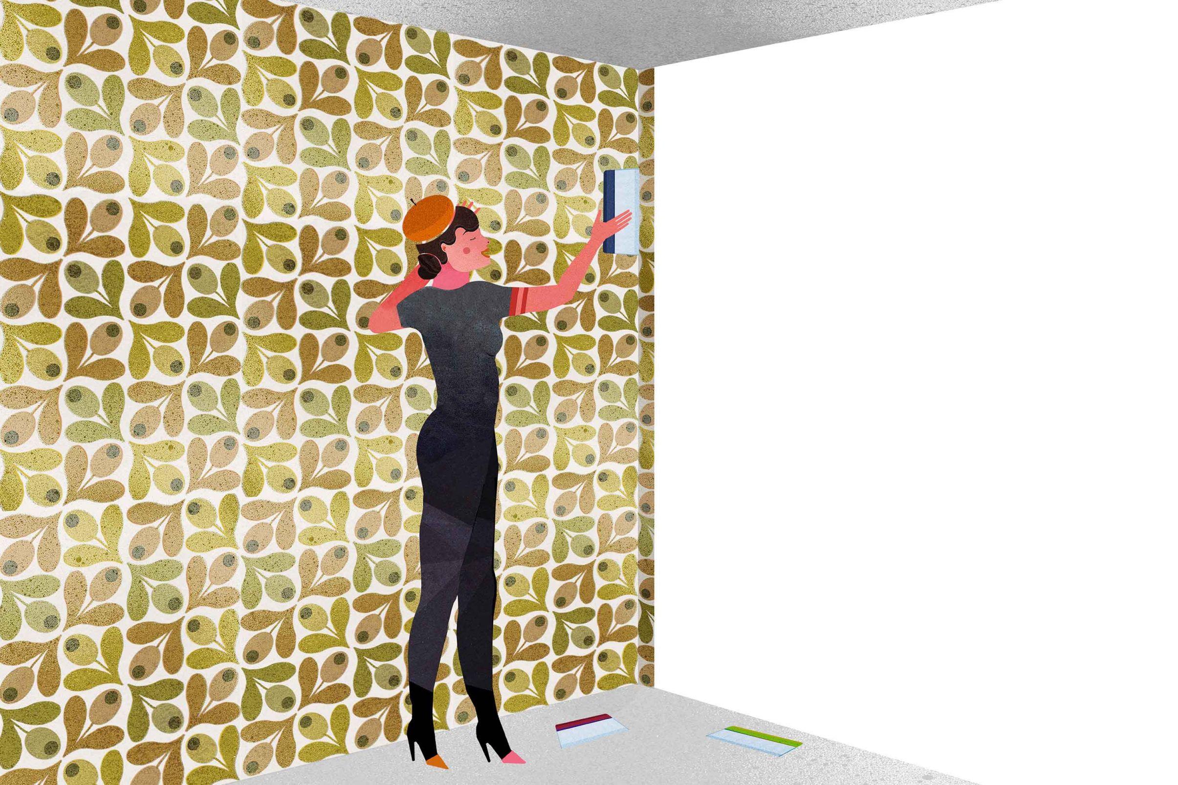 wie tapeziere ich ecken tapezieranleitungen lookbook tapeten der 70er. Black Bedroom Furniture Sets. Home Design Ideas