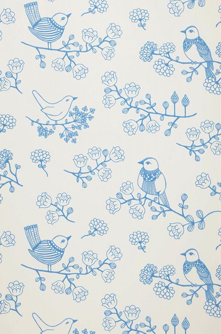 papier peint sugar tree blanc cr me bleu papier peint des ann es 70. Black Bedroom Furniture Sets. Home Design Ideas