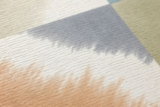 Wallpaper Bienia Matt Graphic elements Cream Light grey beige Olive green Orange Turquoise blue