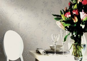 Wallpaper Tacita Matt pattern Shimmering base surface Leaves Blossoms Branches Light grey Silver grey shimmer White