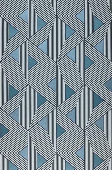 Wallpaper Elias Matt Triangles Graphic elements Shades of blue Grey-blue shimmer