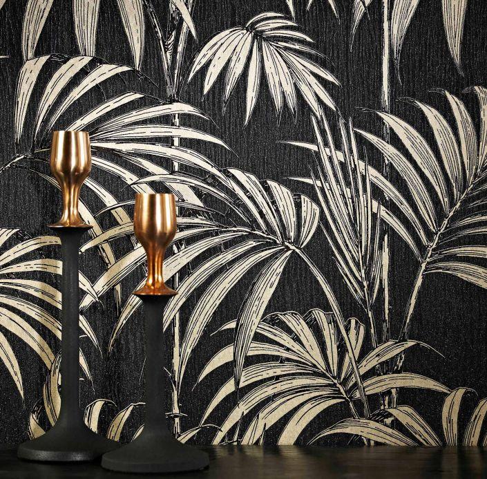 Papel pintado floral Papel pintado Tatanu gris negruzco brillantina Ver habitación
