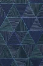 Carta da parati Mikada Opaco Triangoli Nero Toni di blu Turchese menta