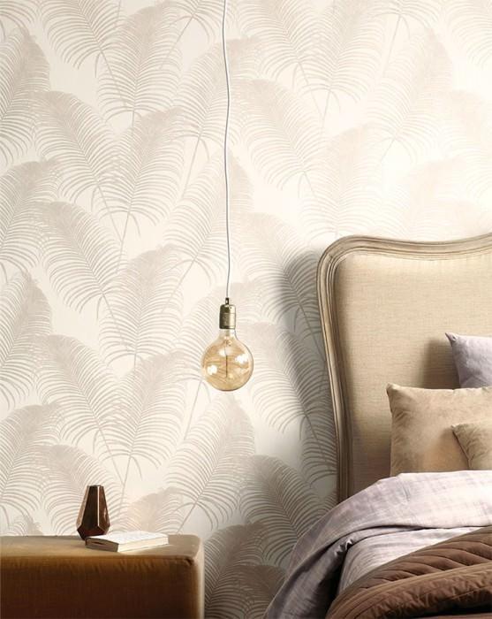 Papel de parede Milva Mate Folhas de Palmeira Branco creme Bege cinza brilhante