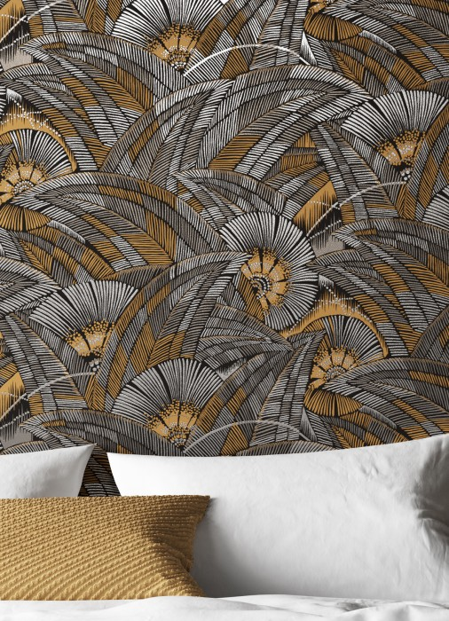 Wallpaper Siskara Matt Stylised leaves Stylised blossoms Black Beige grey Brown beige Pearl beige