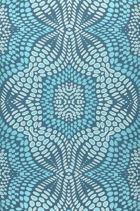 Wallpaper Selma Shimmering pattern Matt base surface Modern damask Dark blue Light turquoise blue White