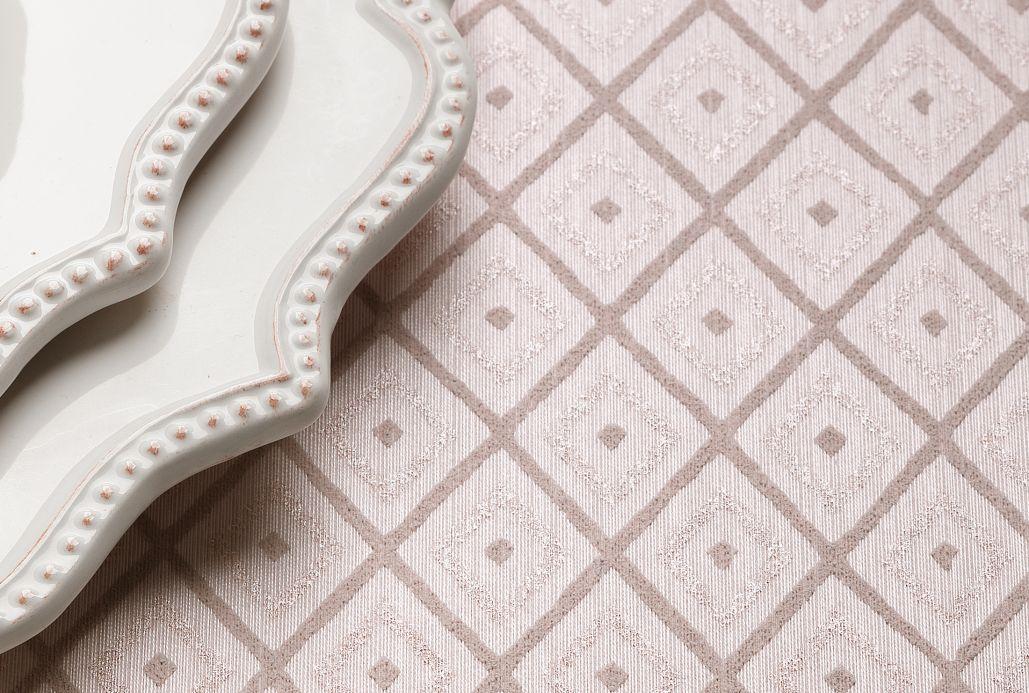 Papel de parede têxtil Papel de parede Abigail rosa branco Ver quarto