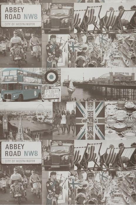 Papier peint Abbey Road Mat Vieilles photos Blanc brun Gris brun clair Vert menthe Noir Noir