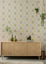 Wallpaper Jannis Matt Retro design Stylised trees Grey beige Green yellow Pea green White