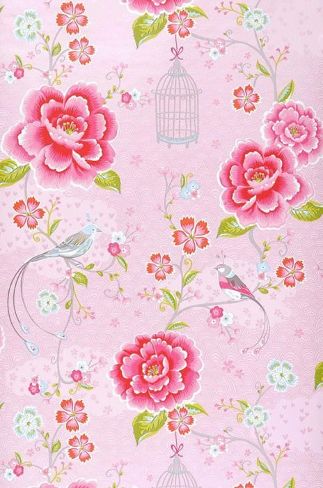 Wallpaper Amina Matt Flowers Birds Bird cages Rose Strawberry red Yellow green White